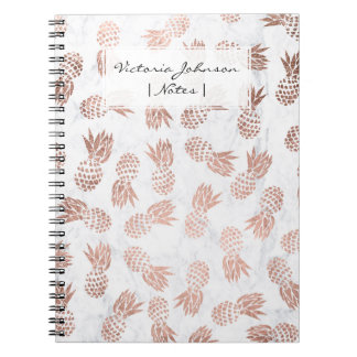 Modern rose gold pineapples pattern white marble spiral note book