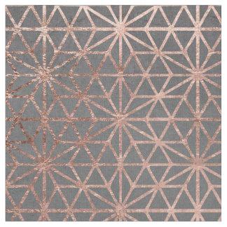 Modern rose gold stars geometric pattern christmas fabric