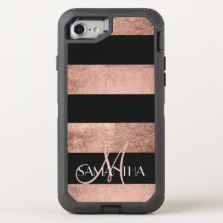 Modern rose gold stripes stylish OtterBox defender iPhone 8/7 case