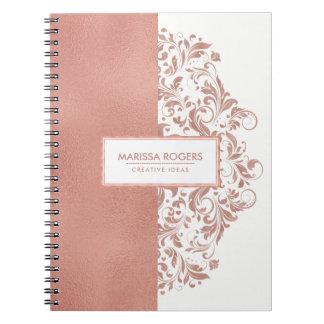 Modern Rose-Gold Texture & Swirls On White Spiral Notebook