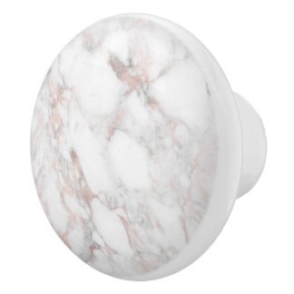 Modern Rose-gold & White Faux Marble Stone Ceramic Knob
