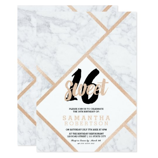 Modern rose gold white marble colour block Sweet Card