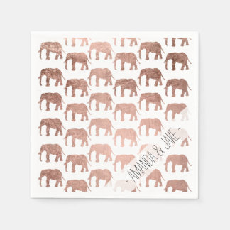 Modern rose gold wild elephants pattern disposable napkin