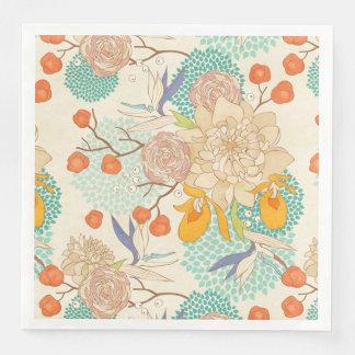 Modern Rose Peony Flower Pattern Paper Napkins