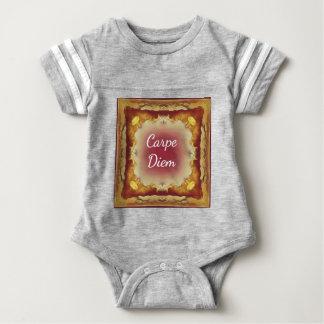 Modern Rose Yellow 'Carpe Diem' Artistic Pattern Baby Bodysuit