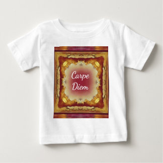 Modern Rose Yellow 'Carpe Diem' Artistic Pattern Baby T-Shirt