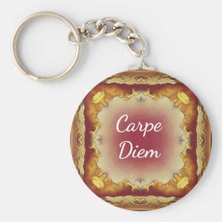 Modern Rose Yellow 'Carpe Diem' Artistic Pattern Basic Round Button Keychain