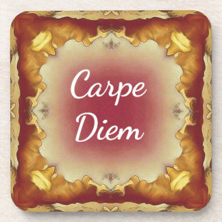 Modern Rose Yellow 'Carpe Diem' Artistic Pattern Coaster