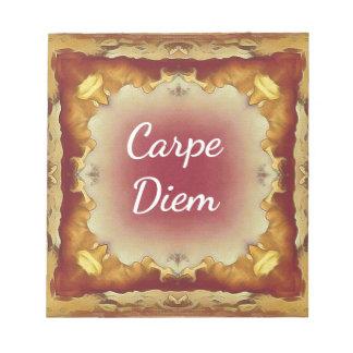 Modern Rose Yellow 'Carpe Diem' Artistic Pattern Notepad