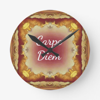 Modern Rose Yellow 'Carpe Diem' Artistic Pattern Round Clock