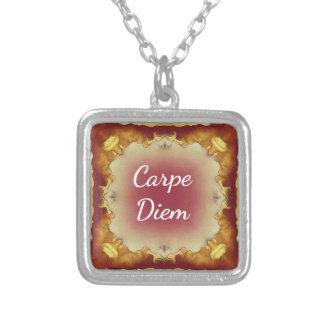 Modern Rose Yellow 'Carpe Diem' Artistic Pattern Silver Plated Necklace
