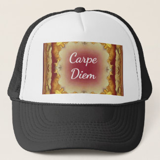 Modern Rose Yellow 'Carpe Diem' Artistic Pattern Trucker Hat