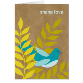 Modern Rosh Hashanah Blue Bird on Kraft Paper Look Card
