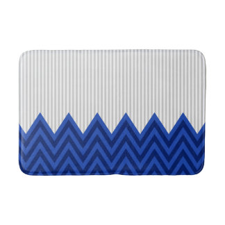 Modern Royal Blue Chevron Gray Stripes Pattern Bathroom Mat