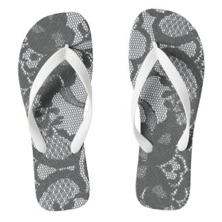 Modern Royal Gray White Victorian Lace Floral Flip Flops