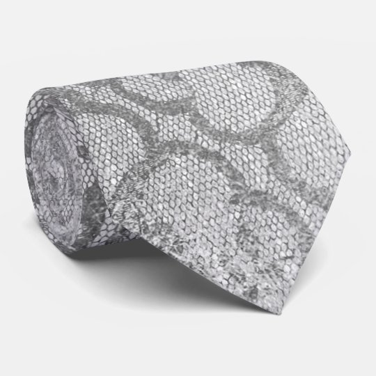 Modern Royal Lace Black Silver Gay Metallic Tie