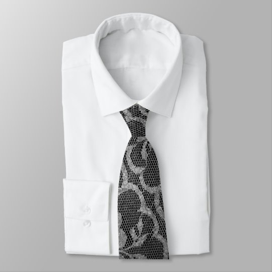 Modern Royal Lace Black Silver Grey Graphite Tie