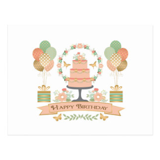 modern rustic chic birthday postcard