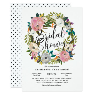 Modern Rustic Country Floral Wreath Bridal Shower Card