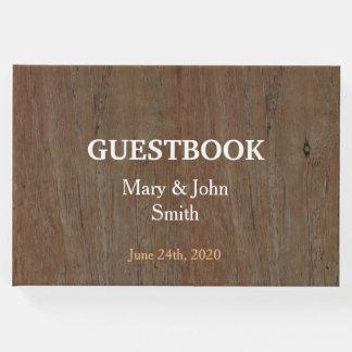 Modern Rustic country wedding dark brown wood Guest Book