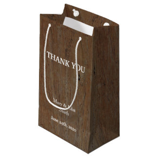 Modern Rustic country wedding dark brown wood Small Gift Bag