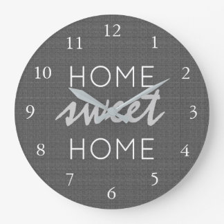 Modern rustic dark gray burlap Home sweet home Large Clock