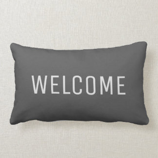 Modern rustic dark gray Welcome Lumbar Pillow