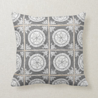 Modern Rustic Farmhouse Hand Painted Tile Pattern Throw Pillow