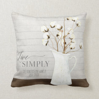 Modern Rustic Farmhouse Watercolor Live Simply Art Throw Pillow