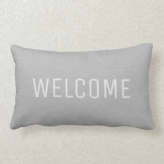 Modern rustic Light Gray Welcome Lumbar Pillow