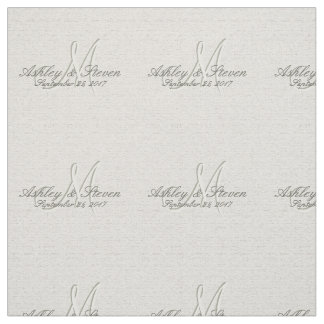 Modern Rustic Linen Wedding Monogram Fabric