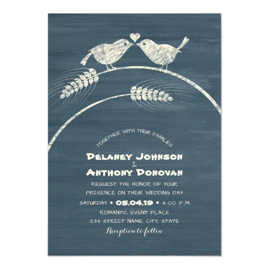 Modern Rustic Love Bird Wedding Country Wood Card