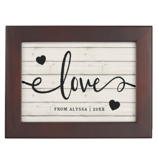 Modern Rustic | Love with Hearts and Photo Keepsake Box