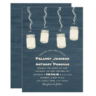 Modern Rustic Mason Jars String Lights Wedding Card