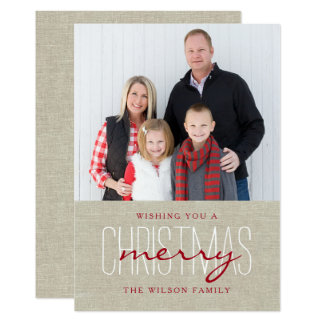 Modern Rustic Merry Christmas Holiday Photo Card