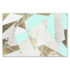 Modern Rustic Mint White and Faux Gold Geometric Tissue Paper