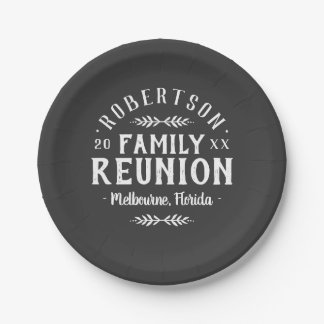 Modern Rustic Personalized Family Reunion Paper Plate