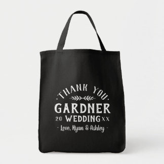 Modern Rustic Personalized Wedding Thank You Bag
