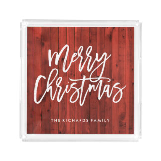 Modern Rustic | Red Merry Christmas Acrylic Tray