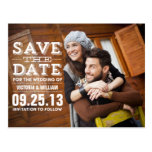 MODERN RUSTIC   SAVE THE DATE ANNOUNCEMENT POSTCARD
