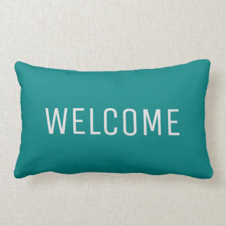 Modern rustic teal blue Welcome Lumbar Pillow