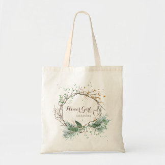 Modern rustic winter wedding bridesmaid tote bag