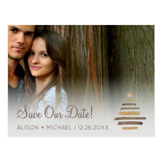 Modern rustic winter wood photo wedding save date postcard