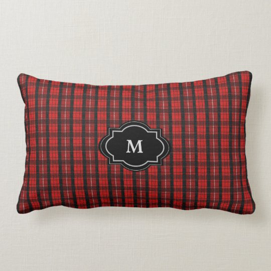 Modern rustric red tartan Monogram faux burlap Lumbar Pillow