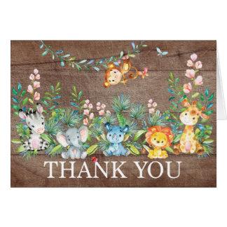 Modern Safari Jungle Baby Shower Thank You Note Card