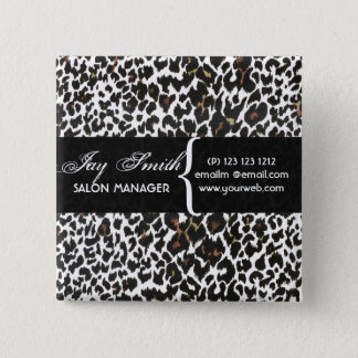 Modern Safari Salons Hair Business Name Tag 2 Inch Square Button