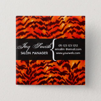 Modern Safari  WildLife Stripes Pattern  Name Tag 2 Inch Square Button