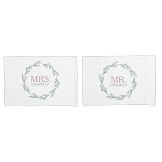 Modern Sage Wreath Newlyweds Pillowcase