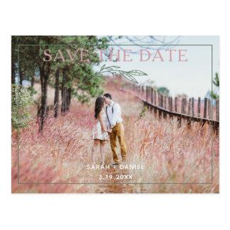 Modern Sage Wreath Save The Date Photo Postcard