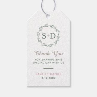 Modern Sage Wreath Wedding Thank You Gift Tags